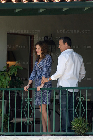 Julia Roberts and Tom Hanks drive a Scooter on the set of Larry Crowne in Pasadena on June 04,2010.