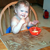 First time finger painting with pudding!! And it was good!
