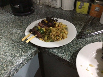 Teriyaki beef skewers & special fried rice