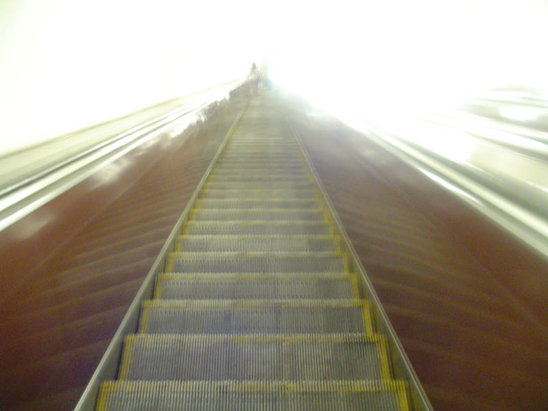 This interesting photo was taken going down the long escalator to the Metro at Maidan Station.