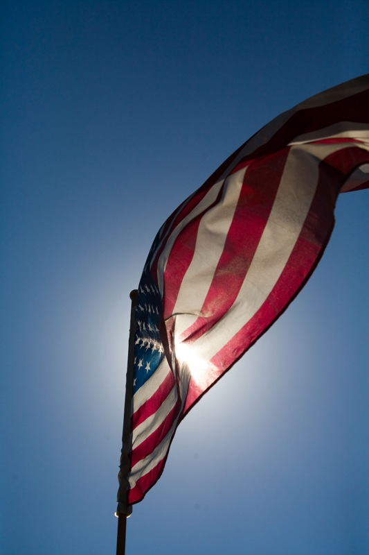 Flag on top of restautant in Carmel near Tickle Pink Inn