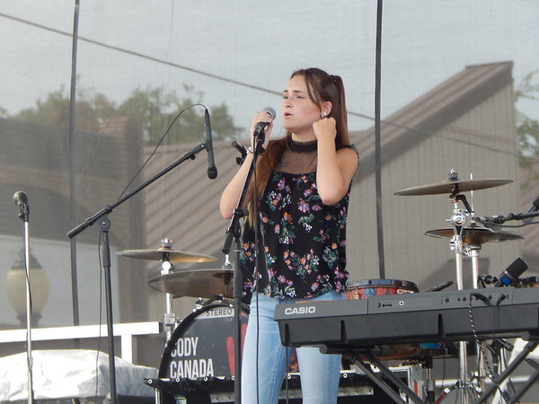 KENTON BROOKS/Muskogee Phoenix<br /> Becca Keeton, who won the Wagoner Switchmas Christmas Show in Wagoner, was the first act to perform at Saturday's Switch Monkey Music Festival on North Main Street.