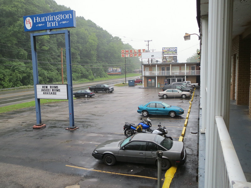 End day 1:  Huntington, WV.  We stayed here, at Rapey McHomicide's Meth Cookery.  I highly don't recommend it, but Meredith refused to sleep outside in the rain and our budget was this or the Y.