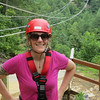 Day 3: Red River Gorge Zip Lines!  5 zips, longest is 2,000 feet, 360 feet up, over the gorge.  Meredith in front of the 2,000 foot zip.
