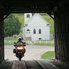 Day 2: Another covered bridge near Flemingsburg (?) KY.  Meredith rides through.