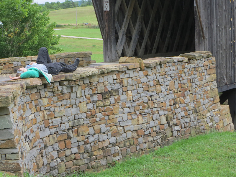 Day 2: Another covered bridge near Flemingsburg (?) KY.  Meredith takes a break.