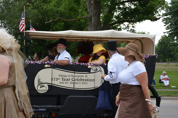 """Floats and displays around the theme of """"Happy Birthday Teutopolis"""" crowded Main Street Sunday for the Knights of Columbus Teutopolis Parade."""