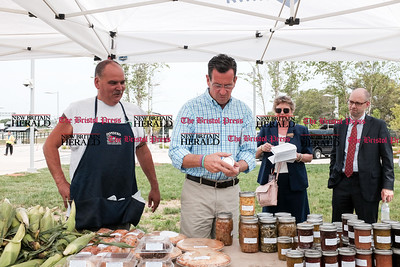 071816  Wesley Bunnell | Staff  Governor Dannel Malloy visited the downtown New Britain CT fastrak station which features a farmers market on Monday afternoons.