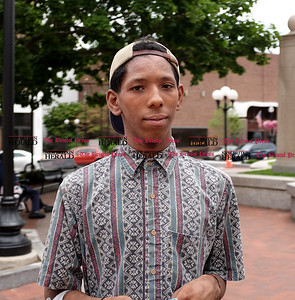 070816  Wesley Bunnell | Staff  Answering a question on race relations in America is Davonte Thompson.