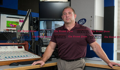 070816  Wesley Bunnell | Staff  Bristol has a new online radio station named The Beat. The station is owned by Steve Gagne pictured here in the broadcast room on Friday July 8th.