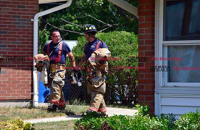 7/27/2016 Mike Orazzi | Staff Bristol firefighters while responding to a fire call on Vance Drive in Bristol on Wednesday afternoon. No injuries were reported.