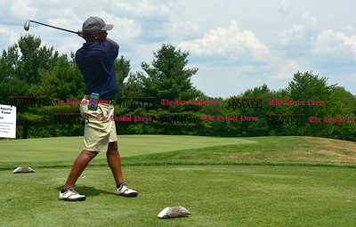 7/28/2016 Mike Orazzi | Staff Reinhard Walker tees off during the Bristol Sports Hall of Fame Golf Tournament held at the Chippanee Golf Club in Bristol on Thursday afternoon.