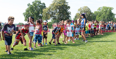 072816  Wesley Bunnell | Staff  Campers line up for the start of the annual pencil hunt. The annual pencil hunt at Walnut Hill Park took place on Thursday morning July 28th.