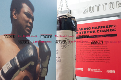 072816  Wesley Bunnell | Staff  A signed punching bag at the exhibit for Muhammad Ali features an instruction from his daughter Laila Ali vowing to be true to herself. Breaking Barriers: Sports for Change, a traveling exhibit debuted at this years ESPY's explores how sports has influenced issues from racism to immigration to equal rights for women, people with disabilities and LGBT athletes.