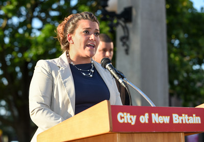 071316  Wesley Bunnell | Staff  A prayer vigil was held on Wednesday evening in Central Park featuring local political figures, members of the New Britain Police Department & clergy.  Mayor Erin Stewart giving her remarks.