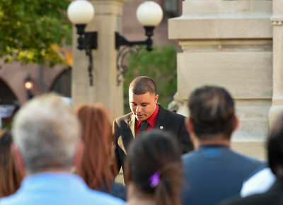 071316  Wesley Bunnell | Staff  Alderman Kristian Rosado speaks from the podium in Central Park. A prayer vigil was held on Wednesday evening in Central Park featuring local political figures, members of the New Britain Police Department & clergy.