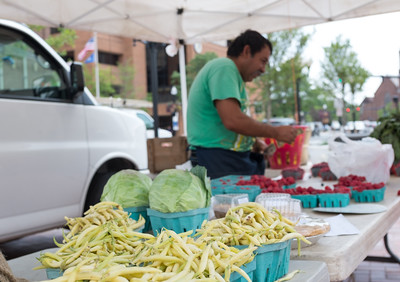 071316  Wesley Bunnell | Staff  Wednesday was the first day of the the new Farmer's Market in Central Park in downtown New Britain featuring Dondero Orchard of Glastonbury.