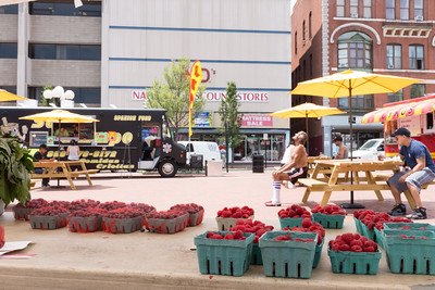 071316  Wesley Bunnell | Staff  Wednesday was the first day of the the new Farmer's Market in Central Park in downtown New Britain featuring Dondero Orchard of Glastonbury.  Central Park is shown with food trucks which have been present for several weeks.