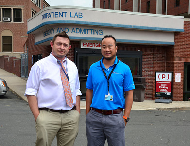 7/14/2016 Mike Orazzi | Staff Bristol Hospital's Emergency Department Operations Manager Daniel Hartmann and Dr. Andrew Lim.