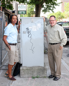 071416  Wesley Bunnell | Staff  New Britain Downtown District Board of Commissioners members Adrian Elliot & Steven Hard in front of a high voltage box to be painted by a local artist.