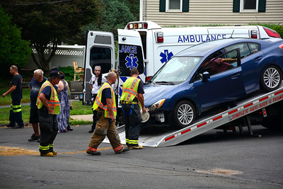 7/15/2016 Mike Orazzi | Staff Bristol emergency personnel on scene of car crash on Redstone Hill Road in Bristol Friday afternoon. No injuries were reported.