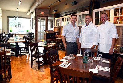 7/15/2016 Mike Orazzi | Staff Ideal Tavern's Ryan Tunnacliffe, Simone DelBuono and Joe Lucci in Southington Friday.