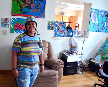 7/16/2016 Mike Orazzi | Staff Artist Melissa Kalinsky during the New Britain 's Artist's Co-op Open Studios on West Main Street Saturday afternoon.