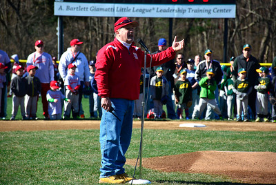 4/25/2015 Mike Orazzi | Staff Edgewood Little League President Mark Tonon during opening ceremonies at the Edgewood Little League in Bristol Saturday morning.
