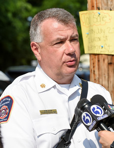 072016  Wesley Bunnell | Staff  112 Wilcox St. in New Britain was damaged by fire on Thursday afternoon.  Fire Chief Thomas Ronalter being interviewed.