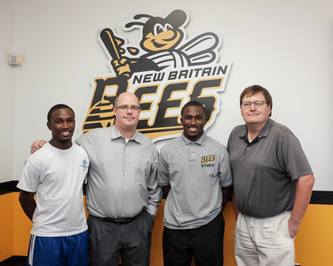 072116  Wesley Bunnell | Staff  From L Kevin Harris, New Britain Bees General Manager Patrick Day, Calvin Harris & Ken House from the HAI Group. Under a mentoring program Ken House has worked with Kevin & Calvin Harris including finding them employment with the New Britain Bees.