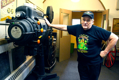 7/2/2016 Mike Orazzi | Staff Courtlandt Hull talks about a recenlty aquired 35mm projector at the Bristol Historical Society on Saturday.