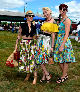 7/2/2016 Mike Orazzi | Staff Renee Didio, Natale Vontiki and Elena Tate during the 11th annual Rumblers Nomads RUMBLE IN THE COUNTRY Car and Bike Show! at the Terryville Fairgrounds Saturday morning.