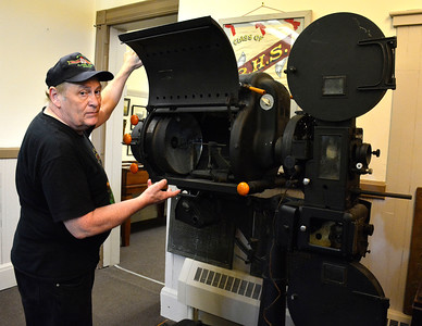 7/2/2016 Mike Orazzi | Staff Cortlandt Hull talks about a recently acquired 35mm projector at the Bristol Historical Society on Saturday.