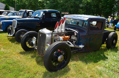 7/2/2016 Mike Orazzi | Staff Hot rods on display during the 11th annual Rumblers Nomads RUMBLE IN THE COUNTRY Car and Bike Show at the Terryville Fairgrounds Saturday morning.