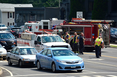 7/21/2016 Mike Orazzi | Staff Bristol police and fire on scene of a motor vehicle crash at the intersection of Pine and Middle Streets in Bristol early Friday afternoon.