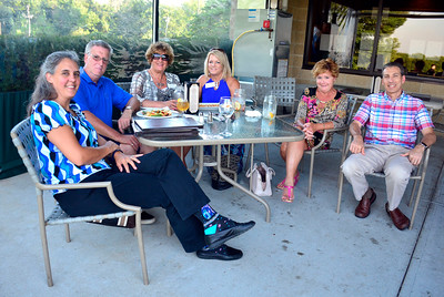7/21/2016 Mike Orazzi | Staff Spending some time at the East Street Eatery at the Farmingbury Golf Club for a Bristol Chamber Social After Hours, left to right: Michelle Merza, Roger Picard, Linda DiMatteo,  Carol Jurzyk, Cindy Scoville and Mark Danetz on Thursday evening.