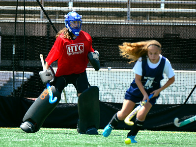 7/23/2016 Mike Orazzi | Staff Newington's Neve Manion and Elaina Vass during a U18 game at Veterans Memorial Stadium Saturday afternoon with the Immaculate Mustangs.