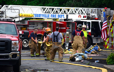 7/30/2016 Mike Orazzi | Staff  Terryville firefighters on scene of a structure fire at the Riverside Baptist Church at 23 Main Street on Saturday afternoon.