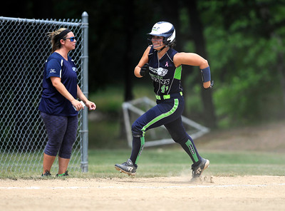 7/30/2016 Mike Orazzi | Staff  Connecticut Titans Madison Feshler (41) on her way to scoring during softball action at the Nutmeg Game at Sage Park in Berlin Saturday.