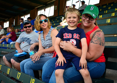 7/4/2016 Mike Orazzi | Staff Bristol Blues fans Caleb Seeger and his aunt Beth Lavertu at Muzzy Field Monday.