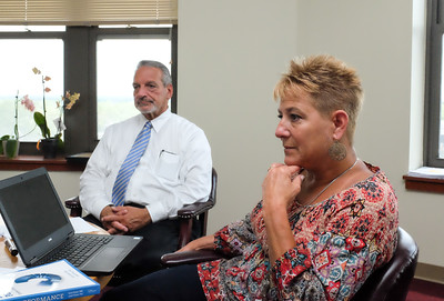 070616  Wesley Bunnell | Staff  A major restructuring of school principals was announced by Superintendent of Schools Nancy Sarra on Wednesday.  From L Chief Operations Officer Paul Salina & Superintendent of Schools Nancy Sarra.