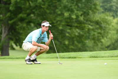 070716  Wesley Bunnell | Staff  Stanley Golf Course held day two of the PGA CT Section Jr. Golf Tournament on Thursday. Chris Ayers, age 18, of Wethersfield lines up his put on the 8th hole.