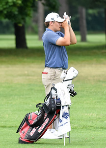 070716  Wesley Bunnell | Staff  Stanley Golf Course held day two of the PGA CT Section Jr. Golf Tournament on Thursday. Noah Peterson, age 17, of East Long Meadow Ma prepares for his 2nd shot on the 9th fairway.