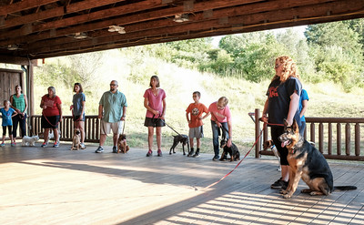 063016  Wesley Bunnell | Staff  Kindergarten Puppy Training Class was held on June 30 at Pistol Creek Golf Course in Berlin.  Class participants line up to the left for their turn on a long leash training exercise. The German Shepard named Cinder is the personal dog of trainer Wendy McGurgan.
