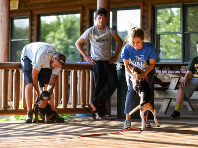 063016  Wesley Bunnell | Staff  Kindergarten Puppy Training Class was held on June 30 at Pistol Creek Golf Course in Berlin.  Veronica Carvajal of Berlin has a very happy Beagle puppy Brady named after Patriots QB Tom Brady.