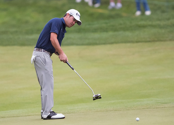 06/23/18 Wesley Bunnell | Staff Brian Harman who is tied for 3rd at -11 putts on the 16th hole The Travelers Championship on Saturday June 23.
