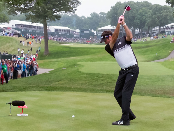 06/23/18 Wesley Bunnell | Staff Bubba Watson who is tied for 6th place at -10 tees off on the 18th hole at The Travelers Championship on Saturday June 23.