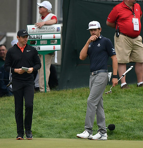 6/23/2018 Mike Orazzi | Staff Rory McIlroy and Lanto Griffin during the 2018 Travelers Championship at TCP River Highlands Saturday in Cromwell.
