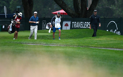 6/23/2018 Mike Orazzi | Staff Beau Hossler and Bubba Watson during the 2018 Travelers Championship at TCP River Highlands Saturday in Cromwell.