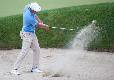 06/23/18  Wesley Bunnell | Staff  Bryson DeChambeau who is tied for 6th at -10 hits out of the sand at The Travelers Championship on Saturday June 23.